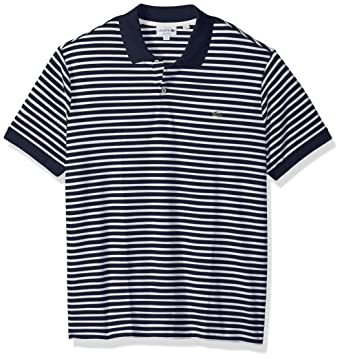 a1204fcb Lacoste Men's Short Sleeve Stripe Pima Jersey Interlock Regular Fit, Navy  Blue/Flour, XXX-Large at Amazon Men's Clothing store: