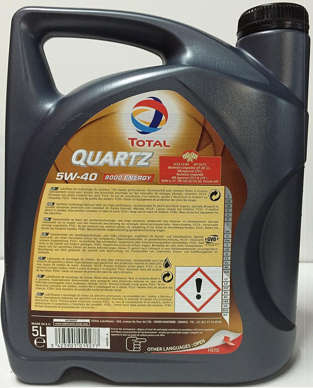 Lubricante motor TOTAL QUARTZ 9000 energy 5W-40 7 litros (1x5 + 2x1 lt): Amazon.es: Coche y moto