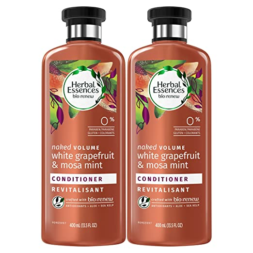 Herbal Essences Volume Conditioner for Color Treated Hair, BioRenew White Grapefruit & Mosa Mint, 13.5 FL OZ (Pack of 2)