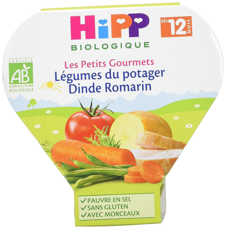 Hipp Biologique Les Petits Gourmets Légumes du Potager Dinde Romarin dès 12 mois - 6 assiettes de 230 g 4062300163843