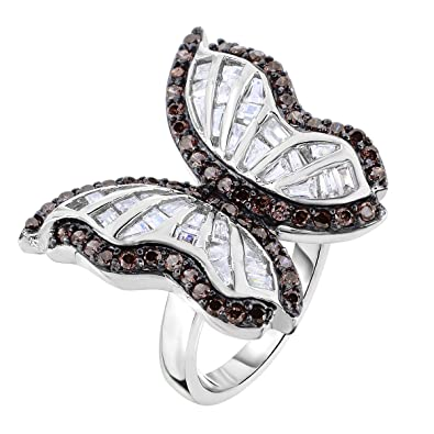 7159164395e10 Tilo Jewelry Sterling Silver Butterfly Cocktail Ring with White & Chocolate  Color CZ