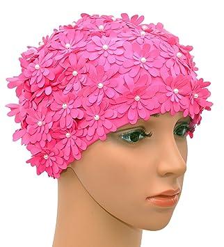 grande vente au rabais dernières conceptions diversifiées Vente de liquidation 2019 Medifier Bonnet de Bain Multicouche pétales de Fleurs Style rétro Bain Caps  pour Femme Rose