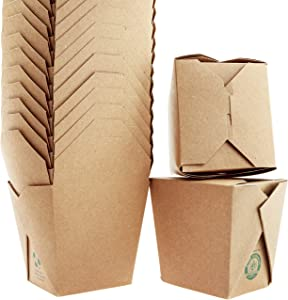 Microwavable Brown Chinese Take Out Boxes. 100 Pack by Avant Grub - 50 Each of 16 oz and 8 oz Stackable Pails. Recyclable, Leak and Grease Resistant to Go Container for Restaurants and Food Service