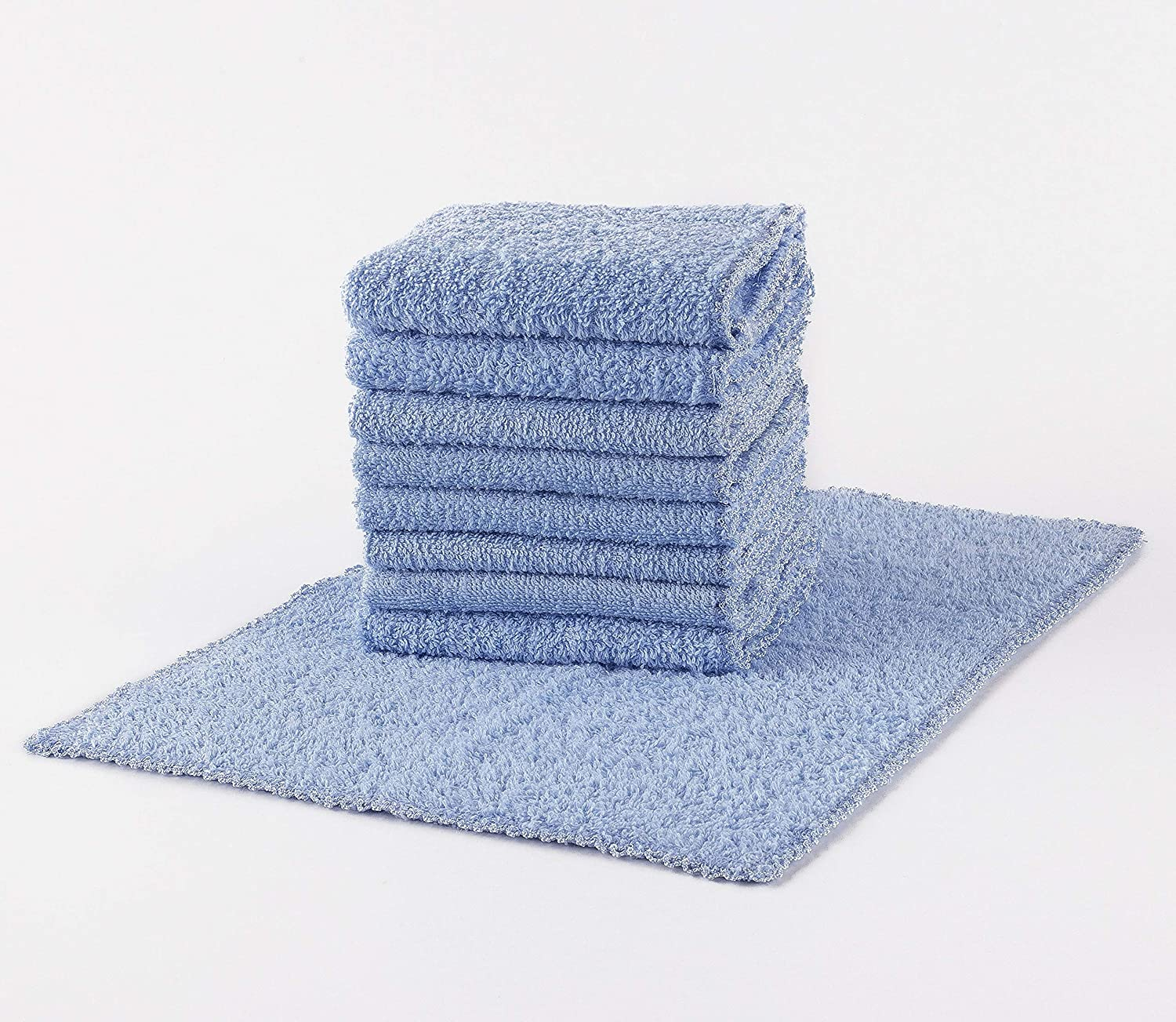 Mooselander Multi-Purpose 100/% Cotton Washcloths Highly Absorbent Light Blue Pack of 24