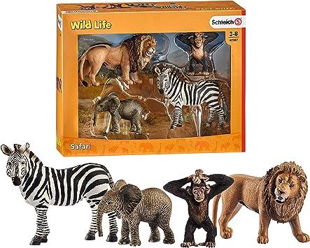 Schleich 42387 Wild Life Starter-Set Affe Elefant Löwe Zebra Wildtiere Figur NEU
