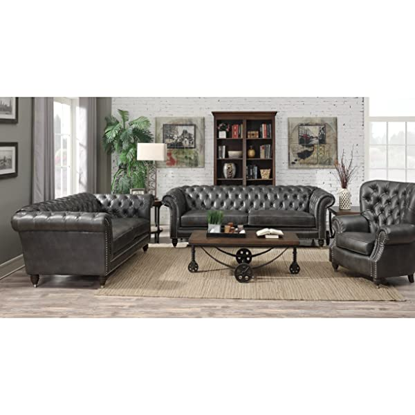 Emerald Home Capone Charcoal Loveseat with Faux Leather Upholstery, Nailhead Trim, And Rolled Arms