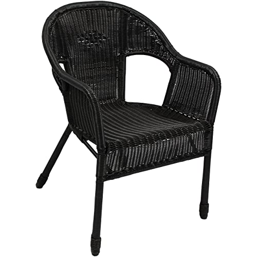 International Caravan Furniture Piece Resin Wicker Outdoor Set of Two Bistro Chairs