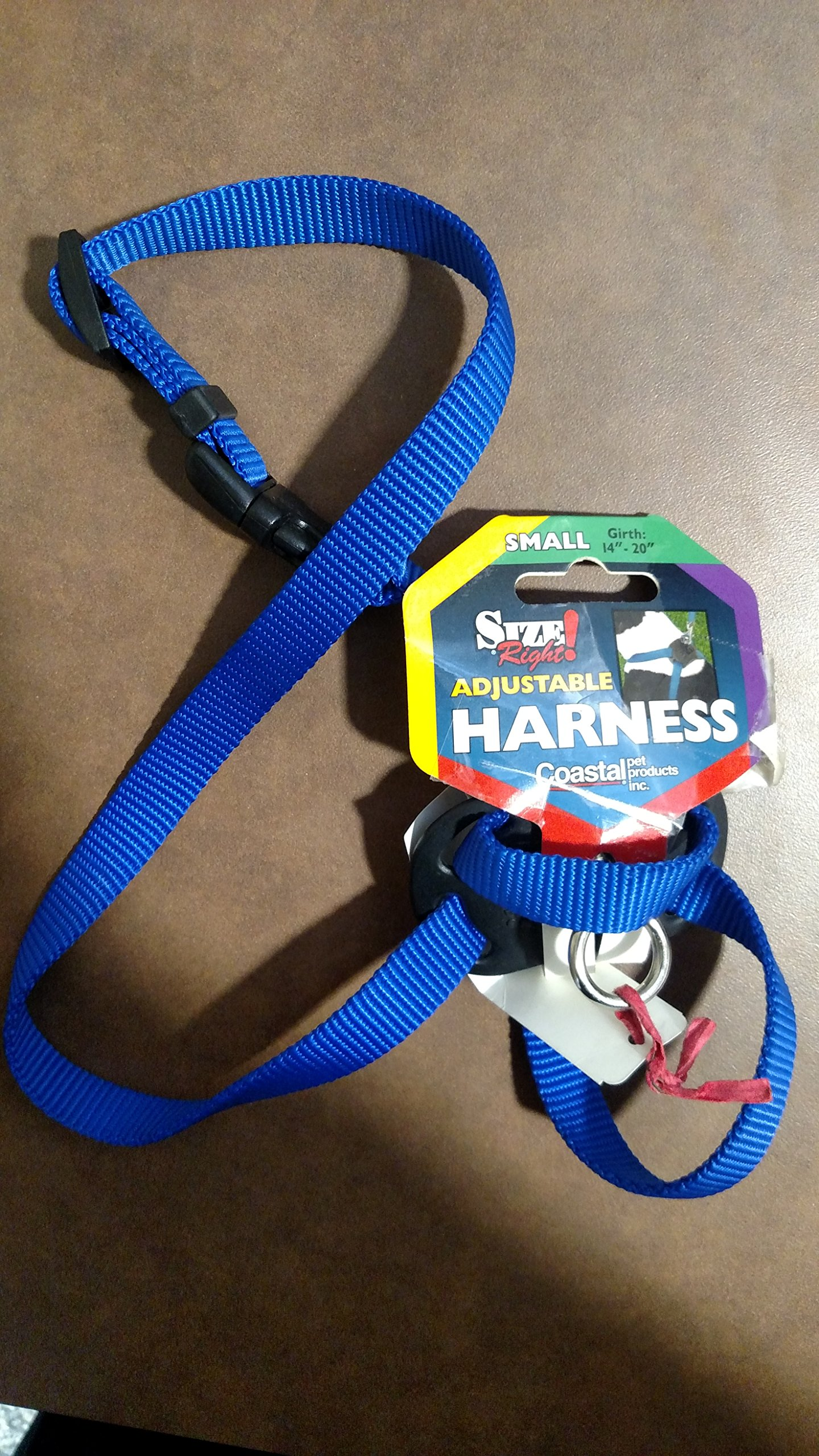 Size Right Adjustable Harness - Dog Harness - Blue - Girth 18'' to 24'', Width 5/8''