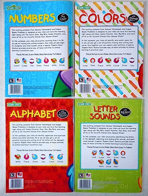 Amazon.com: Set of 4 Sesame Street Workbooks (Alphabet, Letter ...