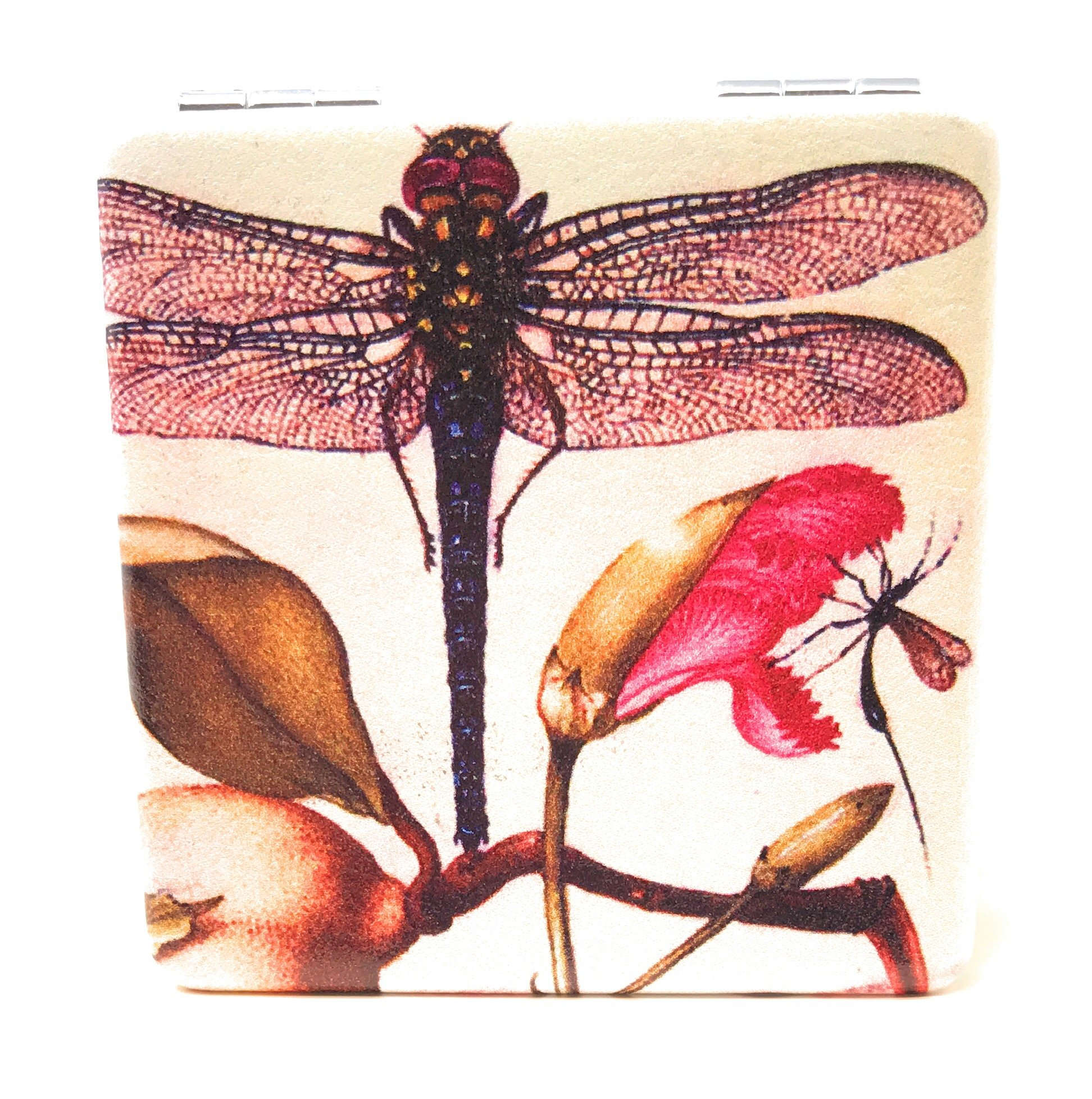 Value Arts French Vintage Dragonfly Print Purse Compact Travel Makeup Mirror and Magnification, 2.375 Inches Square by Value Arts (Image #1)