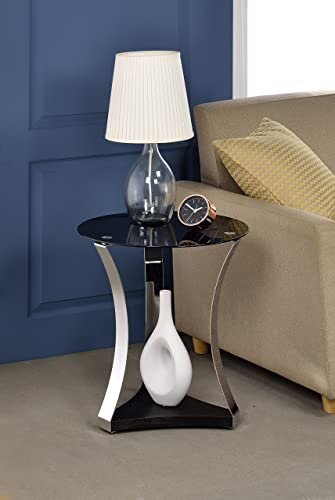 Acme Geiger End Table, One Size, Black Glass and Rose Gold