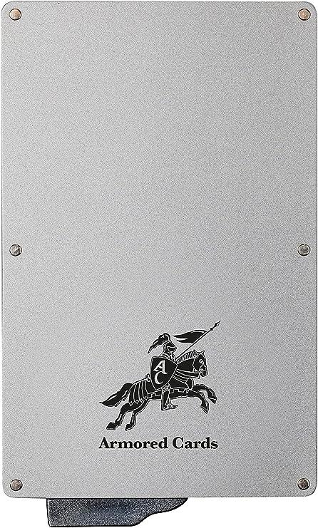 Bouton /&e Un Porte Carte /él/égant /& s/écurisant Porte Carte s/écuris/é Anti RFID jusqu/'/à 6 Cartes de cr/édit Sauvegardez Vos donn/ées personnelles ARMORED CARDS