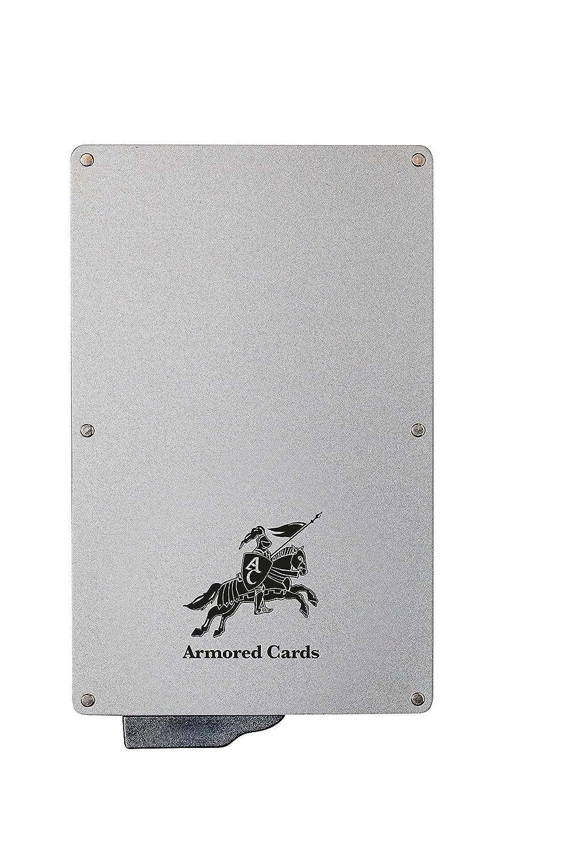 ARMORED CARDS – Porte carte sécurisé anti RFID – Sauvegardez vos données personnelles – Un porte carte élégant & sécurisant – Jusqu'à 6 cartes de crédit – Bouton éjectable – Fabriqué en métal AC Anthracite