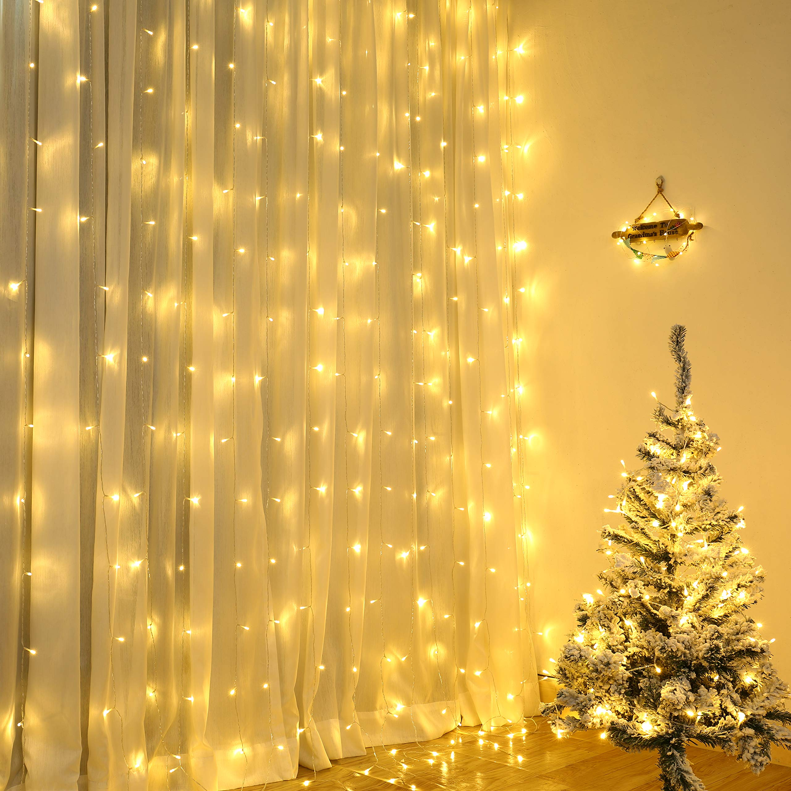 Lyhope Window Curtain Lights Low Voltage Adapter 300 Led