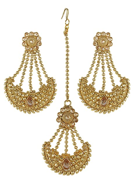 MUCHMORE Gorgeous Indian Style Stunning Gold Plated Polki Earrings with Maangtikka Jewelry Grc1Qbc