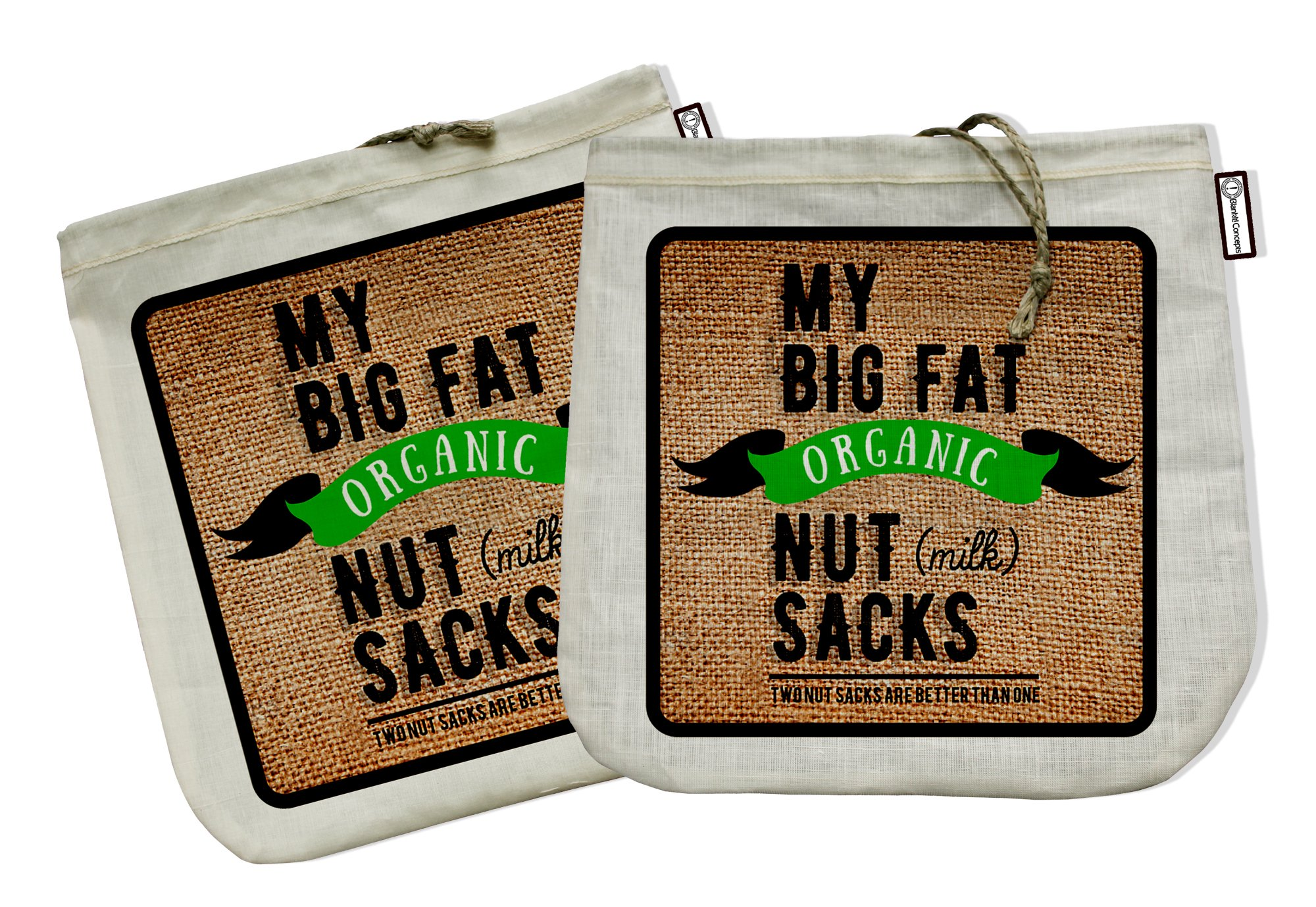 My Big Fat Organic Nut (milk) Sacks. Set of 2 Bags (12''x12'') Commercial Quality Organic Cotton & Hemp Reusable Almond Milk Bag Strainers. Juicing Sprouting Jelly Cheesecloth Coffee Press Tea Sieve