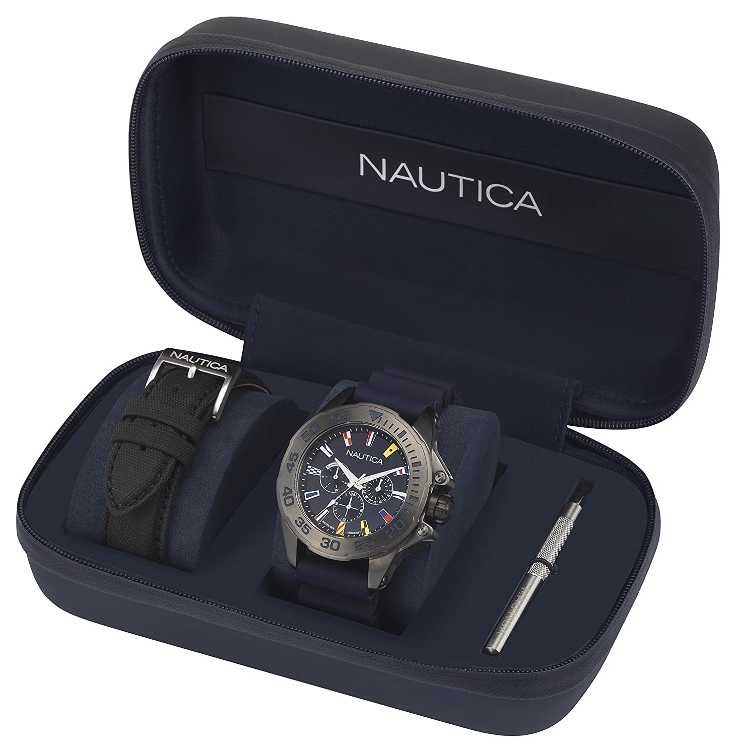 Amazon.com: Nautica Mens Miami Quartz Stainless Steel and Silicone Casual Watch, Color:Blue (Model: NAPMIA008): Watches