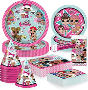 Unique LOL Surprise Dinnerware Party Bundle | Dinner & Dessert Plates, Luncheon & Beverage Napkins, Hats, Table Cover | Kids Girl Birthday Party Decor Officially Licensed