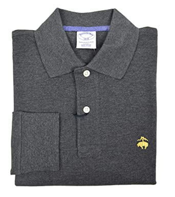f2c7be67f Brooks Brothers Men's Slim Fit Long Sleeve Cotton Polo Shirt Charcoal Grey  (Small)