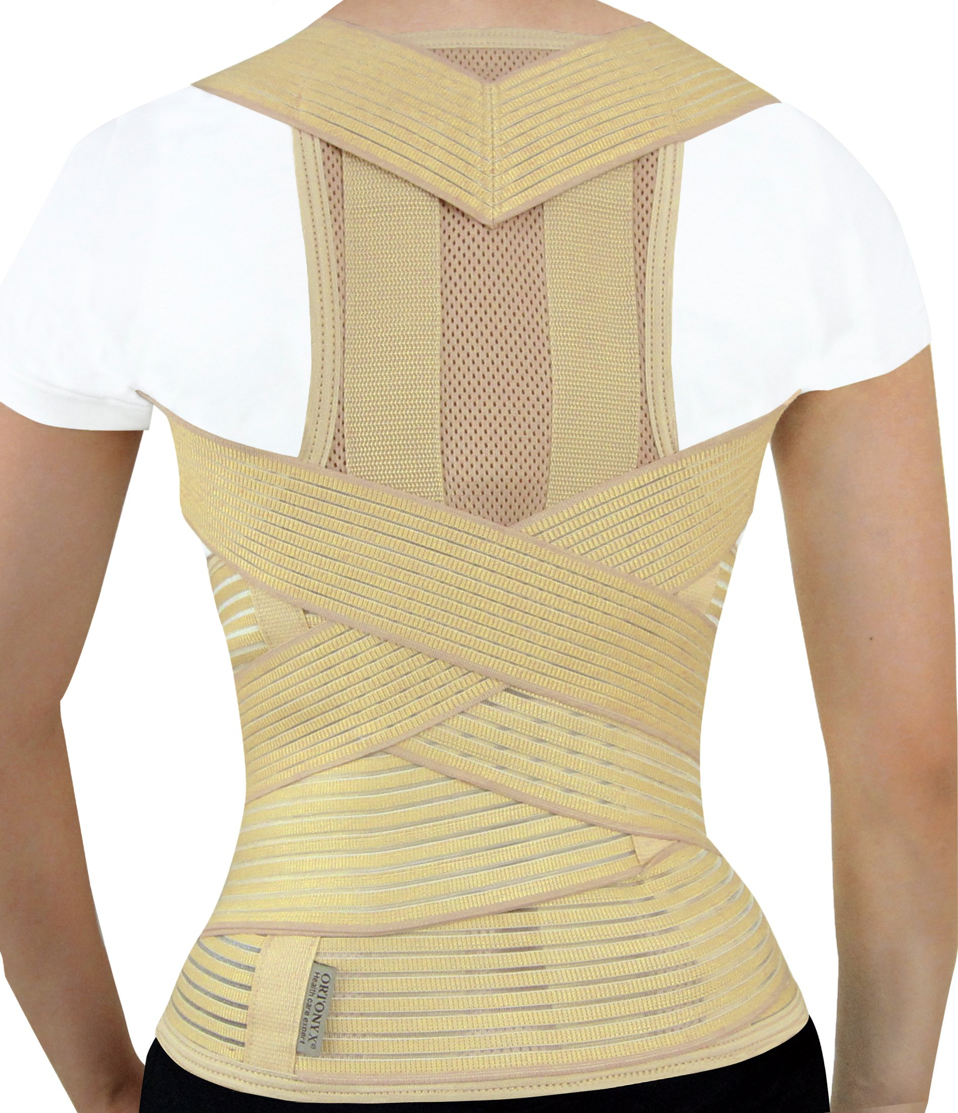 ORTONYX Active Posture Corrector Clavicle and Shoulder Support Back Brace, Fully Adjustable for Men and Women - S Beige