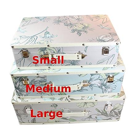 Shabby Chic Vintage diseño Floral decorativo de las maletas - medio 48 x 15 x 33
