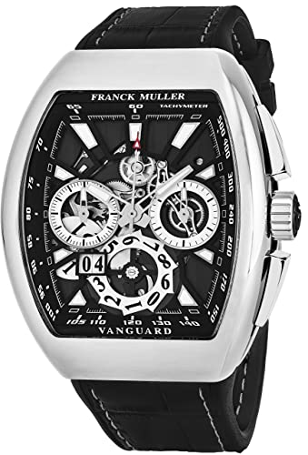 Franck Muller Vanguard Grande - Reloj cronógrafo automático para hombre, cronógrafo de acero inoxidable Tonneau