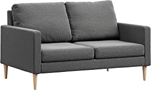 Campaign Steel Frame Brushed Weave Loveseat, 61 Inches, Flint Grey with Solid Maple Legs
