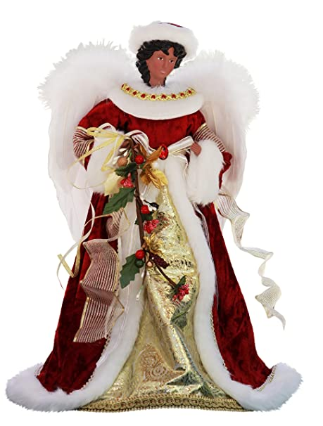 Black Angel Christmas Tree Topper.14 Inch Standing Red Floral African American Black Angel Christmas Tree Topper Or Table Top 41457a