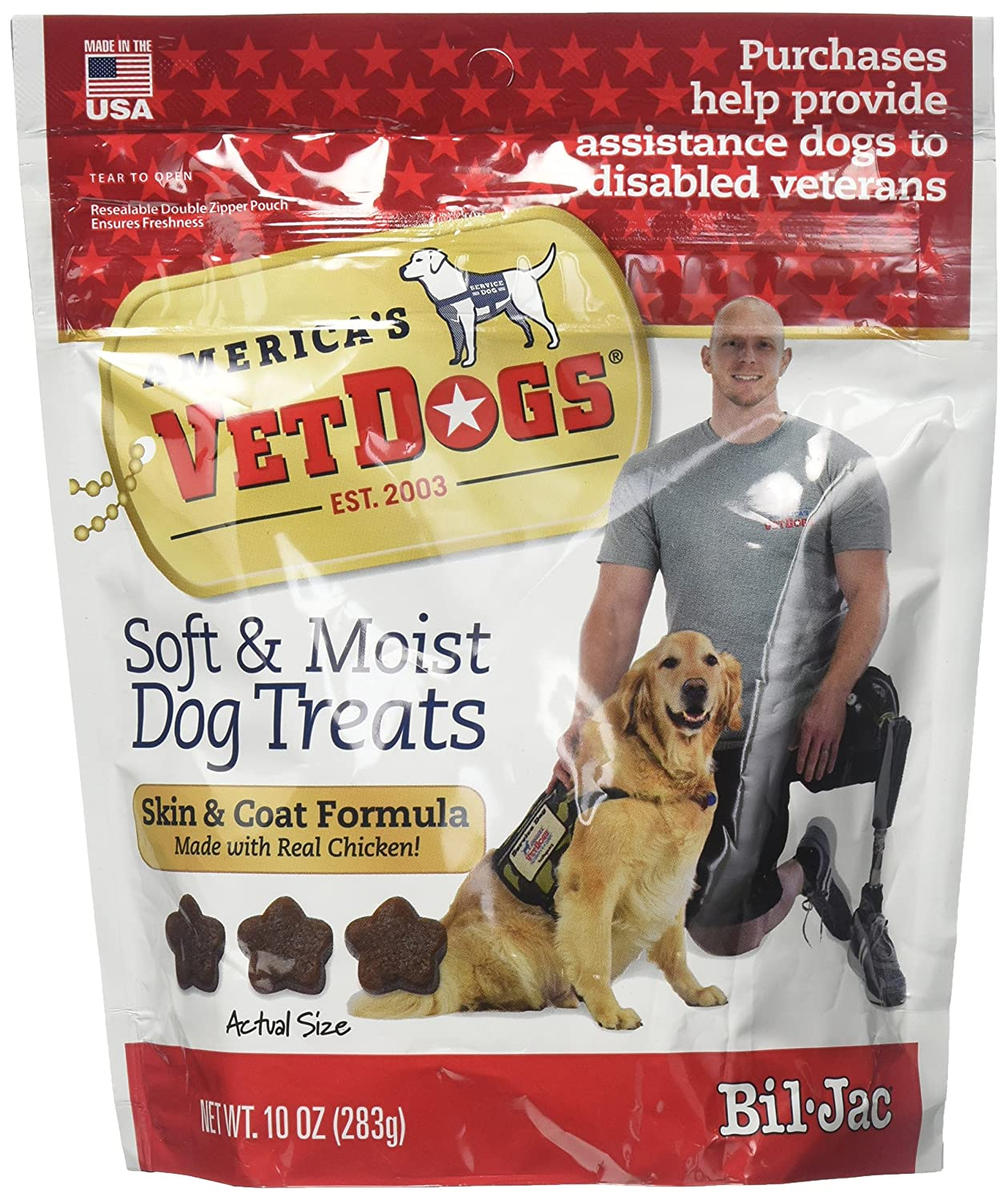 Bil-Jac 6 Pack America s Vet Dogs Skin and Coat Dog Treats, 10 Ounces Each