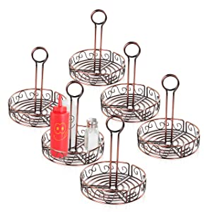 """New Star Foodservice 22131 Antique Bronze Finished Wire Condiment Caddy, 7.8"""" Dia x 9"""" H, Set of 6"""