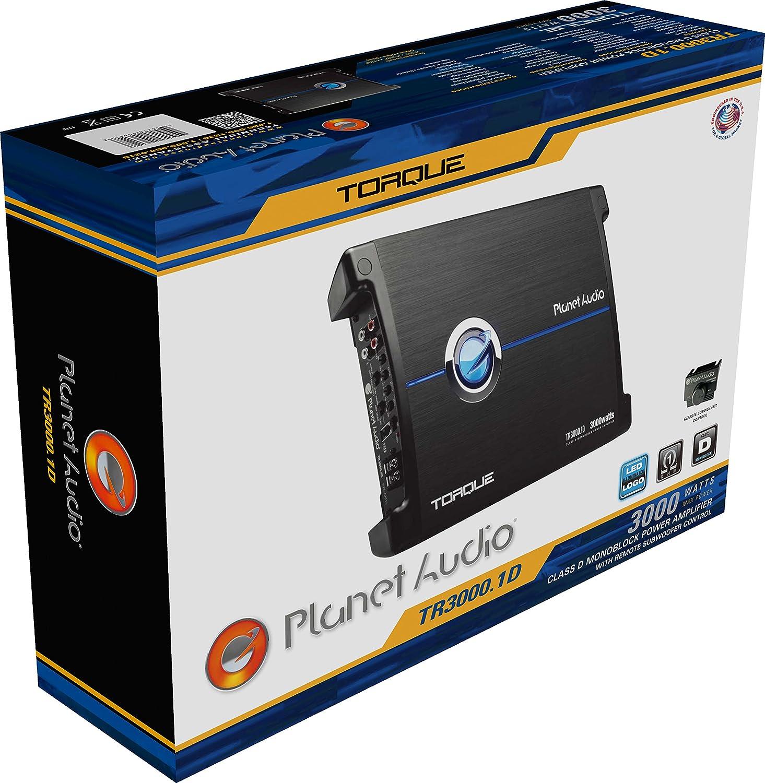 Planet Audio TR5000.1D Torque 5000 Watt 1 Ohm Stable Class D Monoblock Car Amplifier with Remote Subwoofer Control