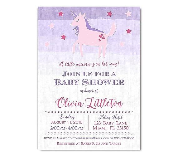 Amazon Com Unicorn Baby Shower Invitation Whimsical Unicorn