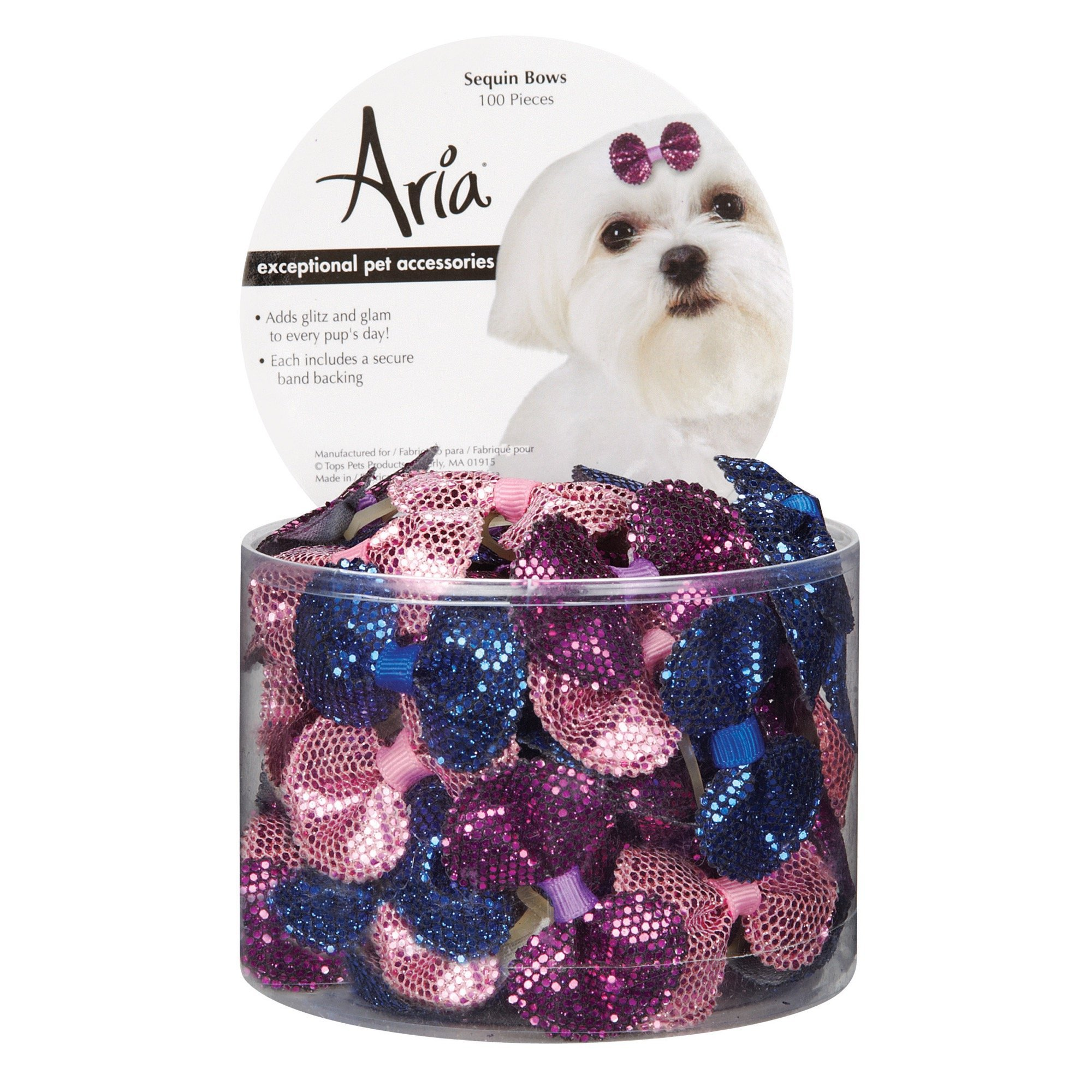 Aria Sequin Bows for Dogs, 100-Piece Canisters by Aria