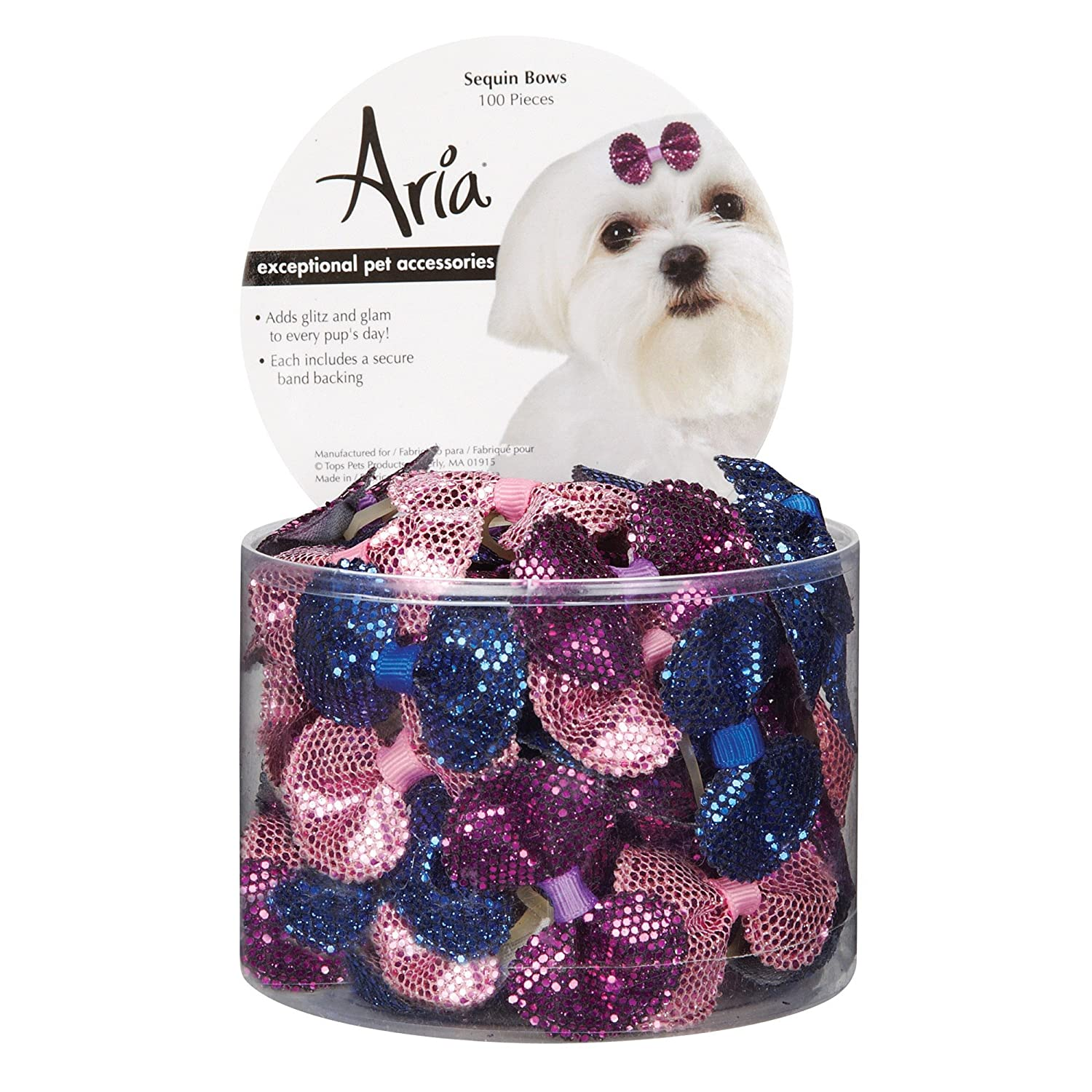 DT5638 99 Sequin Dog Hair Bow Canister, 100 Pieces Aria
