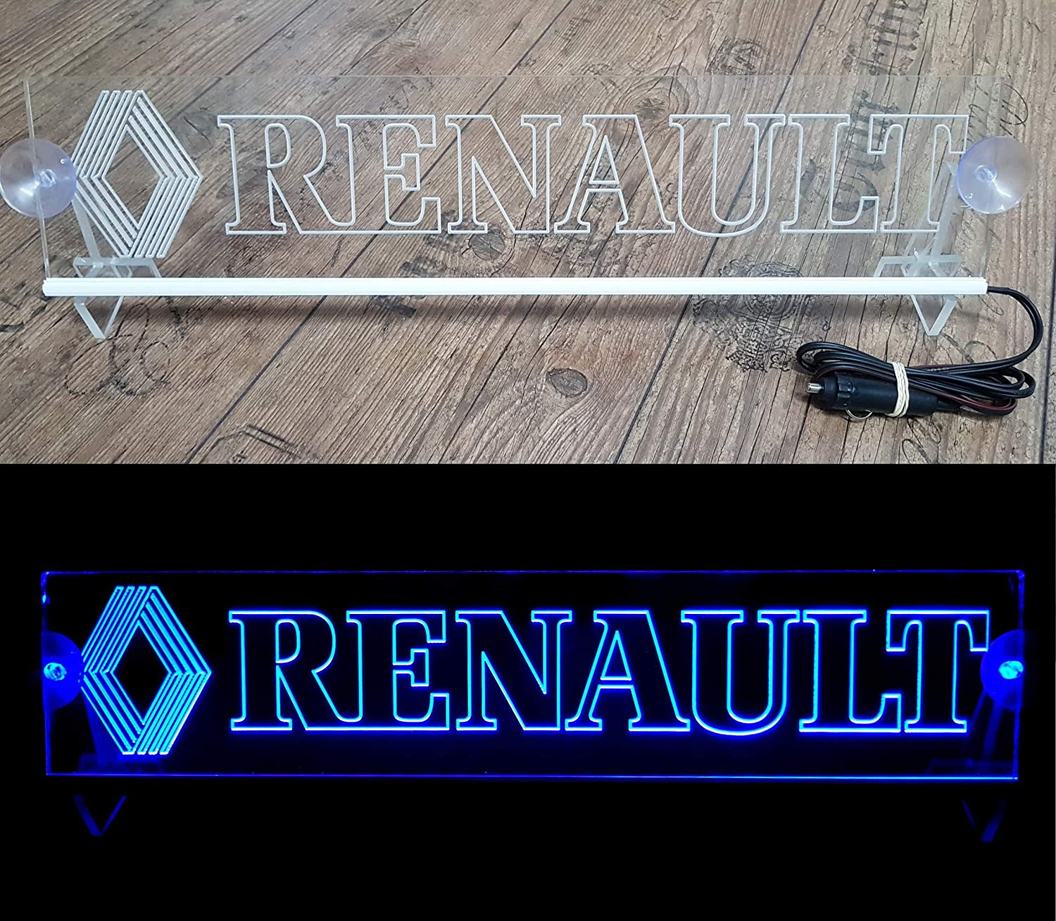 24 Volt LED Light Plate Logo for Trucker Truck Illuminating Sign Table Cabin Decoration Accessories Engraved 24V Blue 5W