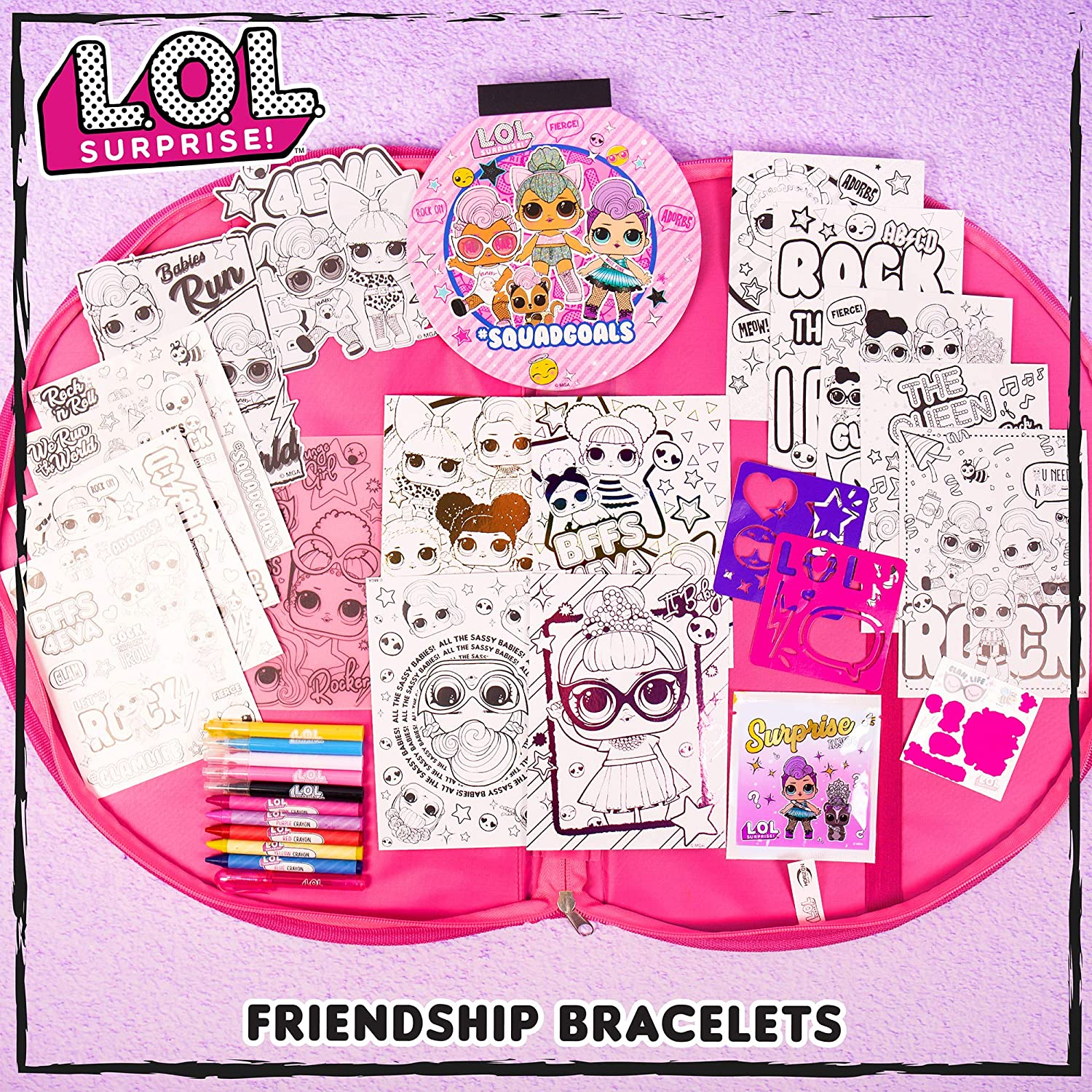 LOL Surprise Sketch /& Surprise Portfolio by Horizon Group USA,DIY Craft Kit,Includes 30 Pages Sketch Pad,Coloring Pages,Scratch /& Reveal Sticker Sheet,Stencil Sheets,Gel Pens Markers,Crayons /& More