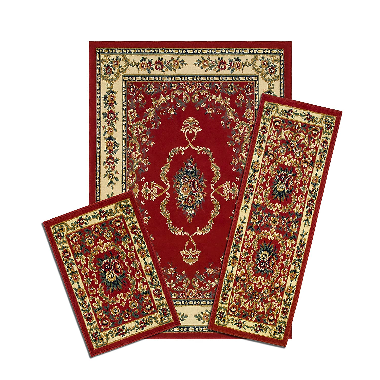 Achim Home Furnishings Capri 3-Piece Rug Set, Savonnerie - Red Achim Imports X470/372-R