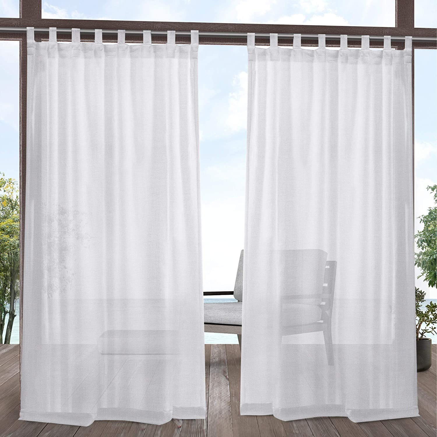 Exclusive Home Curtains Miami Sheer Textured Indoor/Outdoor Tab Top Curtain Panel Pair, 54x108, Winter White