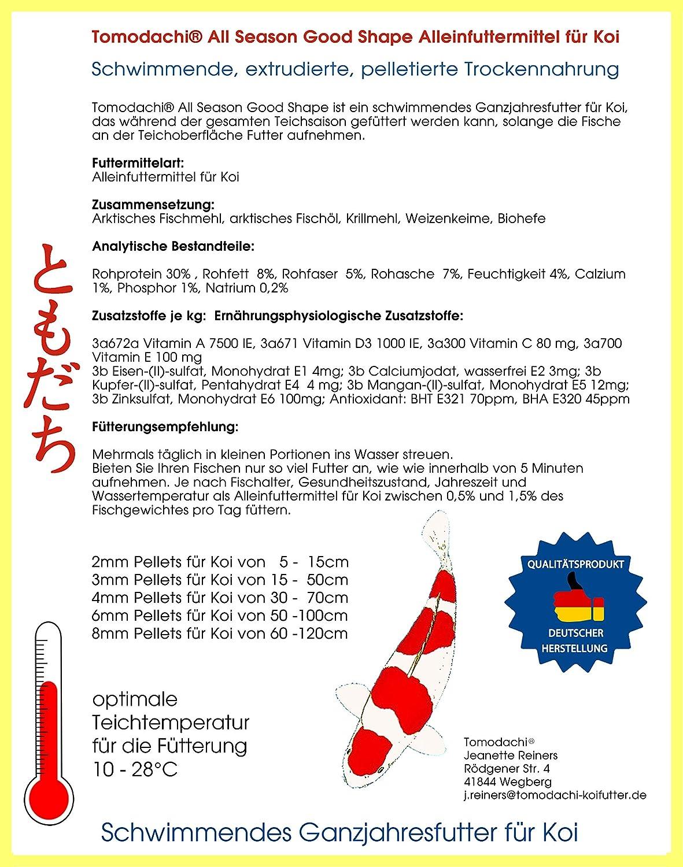 8mm Pelletgr/ö/ße Schwimmfutter All Season KoiSchwimmfutter 8 mm 10kg Tomodachi Koifutter Ganzjahresfutter Koi