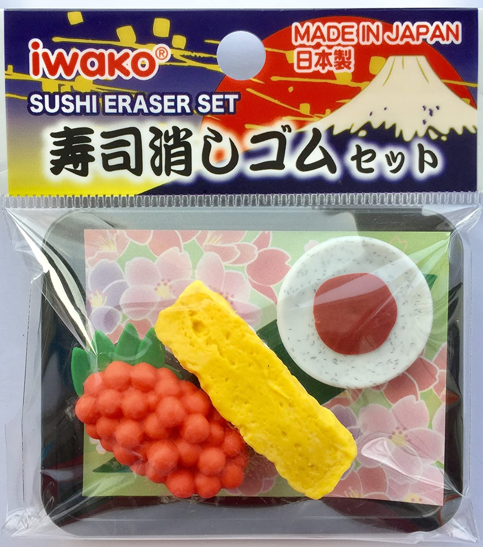 IWAKO 2 piezas en Sushi con salsa de wasabi en bandeja Borrador Conjunto de Japón (Random Sushi Diseño!): Amazon.es: Oficina y papelería