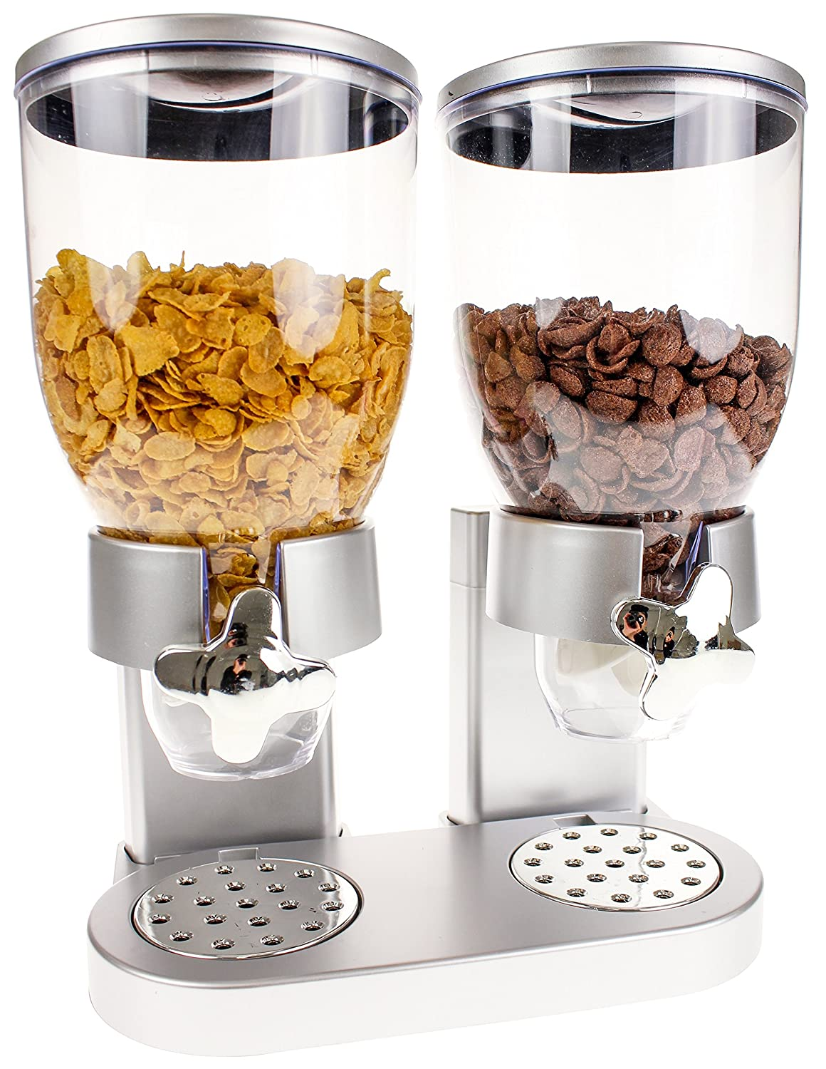 United Entertainment - Dispensador/muesli y Cereales Dispensador/Corn Flak dispensador/Doble de dispensador para Cereales, Corn Flakes y Cereales - Plata: ...