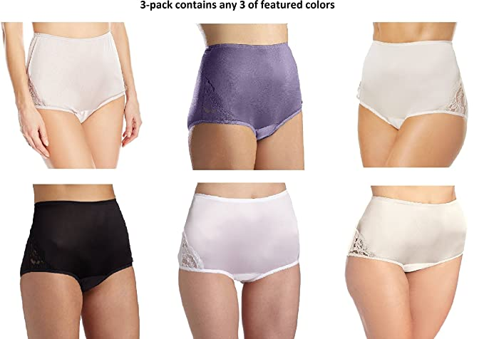 7d93a72402aa Vanity Fair Women's 3-Pack Perfectly Yours Lace Nouveau Brief Panty #13001,  Assorted