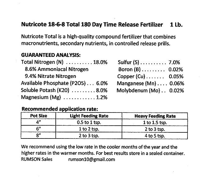 nutricote. Timed Release fertilizantes. 18 - 6-8 180 día. 2 libras. Orquídeas, plantas: Amazon.es: Jardín