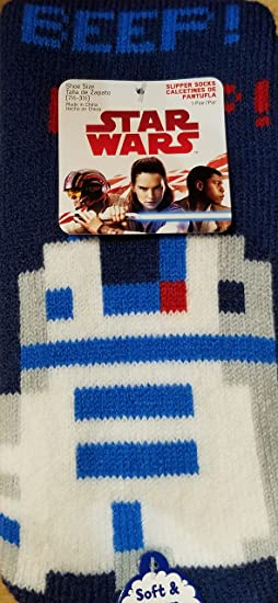 R2D2 Slipper Socks with Grippers Fits Shoe Size 7.5-3.5