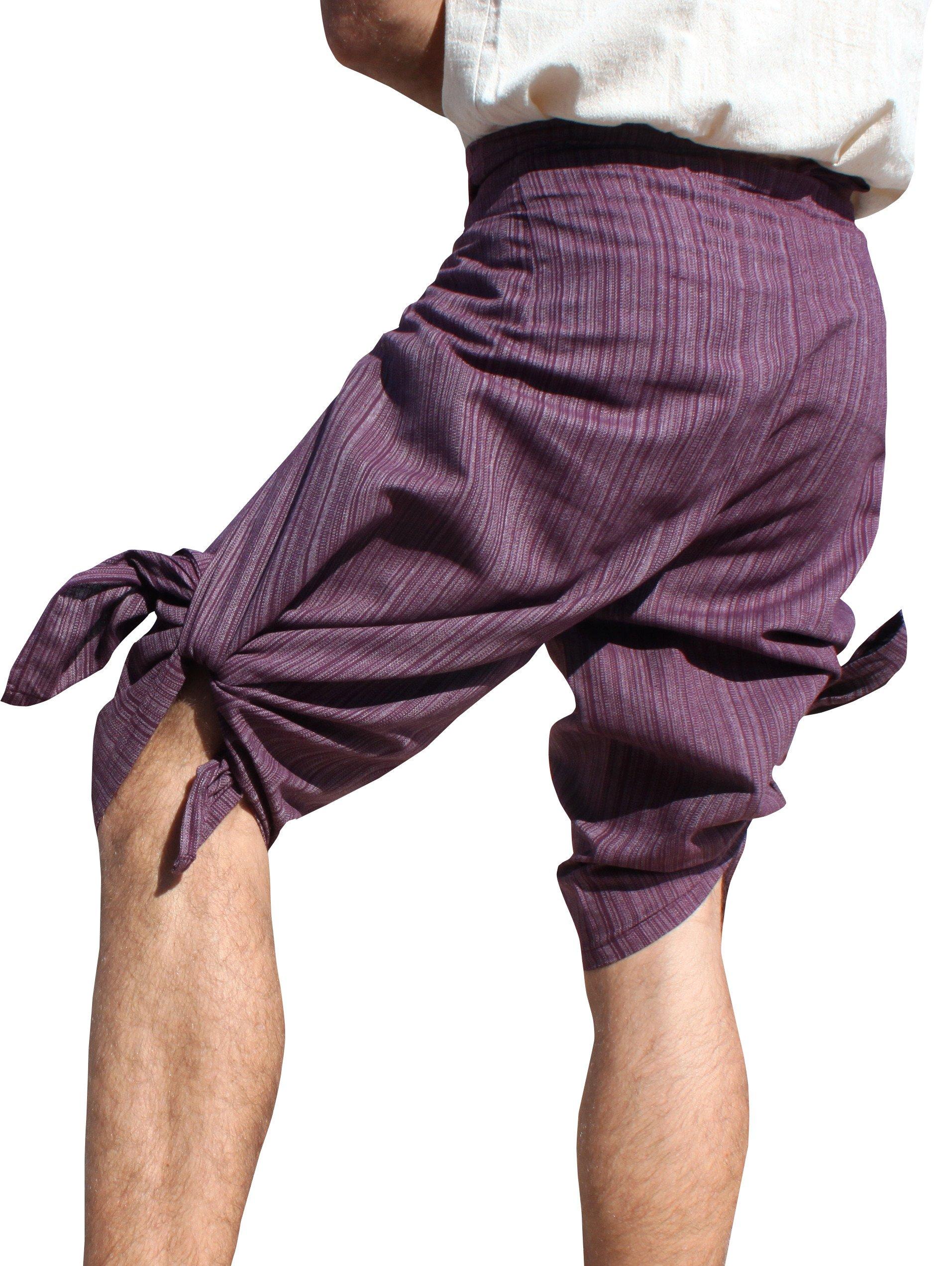RaanPahMuang Drive In Wrap Pants In Summer Plain Mixed Cotton, Medium, TC Cotton - Plum Violet by RaanPahMuang