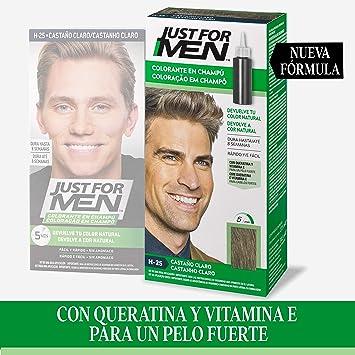 Just for men, Tinte Colorante en champú para el cabello del hombre - Elimina las canas y rejuvenece el cabello en 5 minutos, Castaño Claro, 30 ml, H25 ...