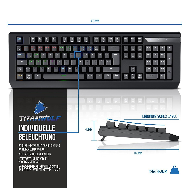 Titanwolf Mechanische Gaming Tastatur Computer Zubehr Keybiard Warwolf