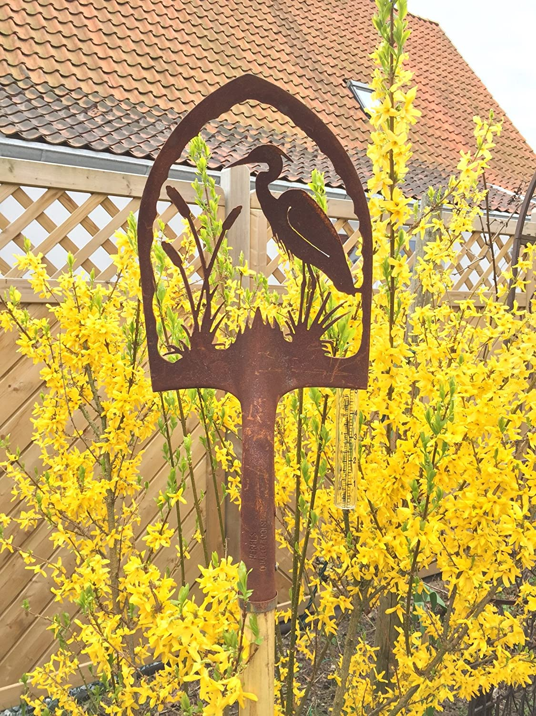 Crispe home & garden Edelrost Deko Schaufel mit Regenmesser Reiher Gartendekoration für außen Höhe 180 cm