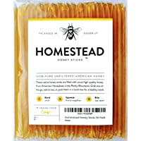 Homestead Honey Sticks, All Natural and Pure American Honey Stix Made with Real...