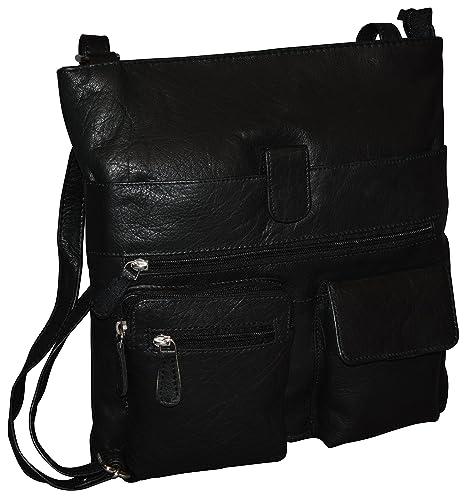 Women S Genuine Leather Large Crossbody Bag Messenger Bag Black